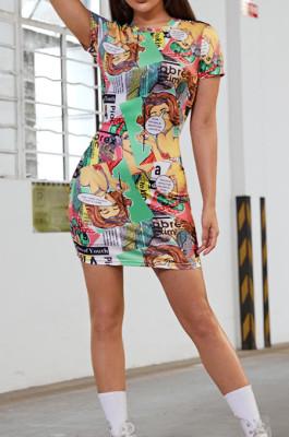 Euramerican Fashion Comic Print Casual Dress QL1006