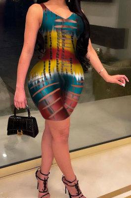 Women Trendy Sexy Tie Dye Hollow Out Hurnt Flower Romper Shorts MOL143