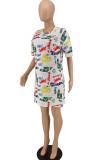 Summer Graffiti Print Casual Loose Dress QL1007