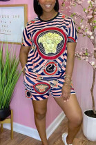 Casual Positioning Print Loose Short Sleeve Shorts Two-Piece TRS1133