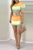 Euramerican Women Stripe Steel Ring Belt Dress BBN160