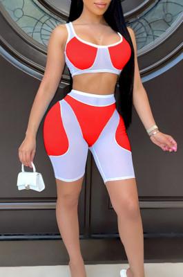 Sexy Net Yarn Spliced Shorts Vest Sports Two-Piece TRS1140