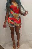 Sexy Women Batch Printing Shirred Detail Mini Dress NK225