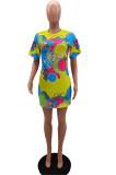 Fashion Positioning Digital Prining Loose Dress NYZ6012
