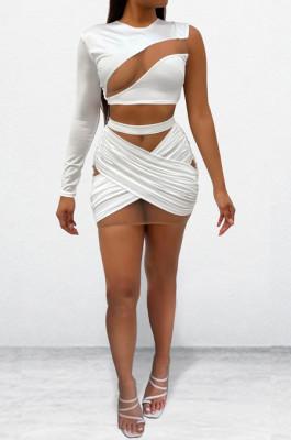 Euramerican Women Net Yarn Spliced IOne Shoulder Two-Piece OEP6281