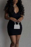 Fashion Pure Color Sleeveless V Neck Pit Bar Dress BBN165