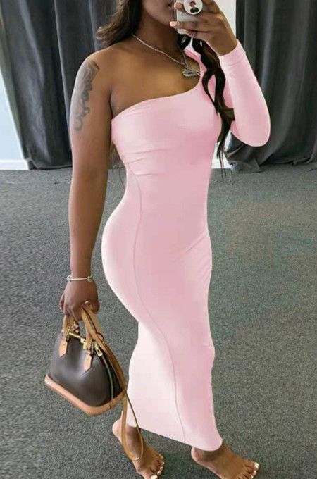 Euramerican Women Pure Color One Shoulder Long Dress QL1013