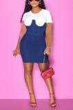 Casual High Elastic Denim Hidden Zipper Short Sleeved Dress BS1263