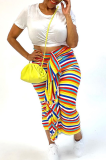 Sexy Shoulder Flounce Color Striped Long Dress N9205