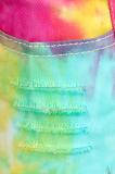 Tassel Frizzled Tie Dye Imitation Denim Shorts