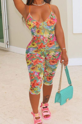 Printing Condole Belt Backless Trendy Casual Jumpsuits AFM2010