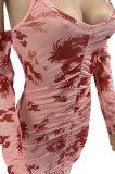 Bud Silk Shirred Detail Longteng Printing Fashion Sexy Condole Belt Mini Dress AFM2011