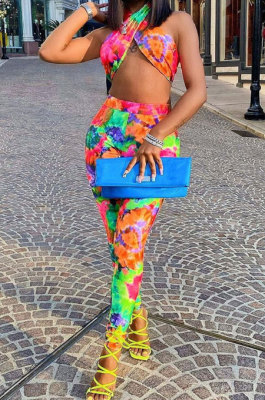 Sexy Trendy Shest Wrap Tie Dye Printing Pants Sets AFM2016
