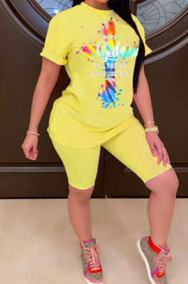 Fashion Women Positioning Printing Color Cross Casual Shorts Sets ASX6010