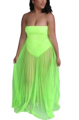 Sexy Mesh See-Through Strapless Maxi Dress Q854