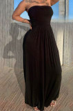 Fashion Sexy Bandeau Bra Loose Pure Color Long Dress KSN8083