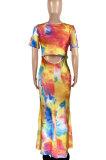 Trendy Tie Dye Printing Short Sleeve Long Dress ASX6008