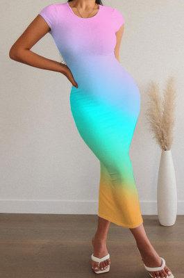 Women Gradual Change Trendy Sexy Round Neck Short Sleeve Midi Dress ASX6016