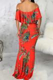 Fashion Sexy Digital Print One Word Led Boob Tube Top Dress SMR10147