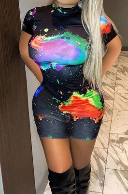 Fashion Women Positioning Printing Short Sleeve Casual Romper Shorts ASX6011