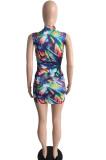 Fashion Contrast Color Print Spliced Sexy Dress JG016