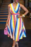 Sexy Spliced Seven Colour Bar BacK Bind Zipper Dress JG043