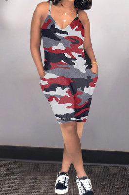 Fashion Sexy Women Casual Camo Romper Shorts AMN8002