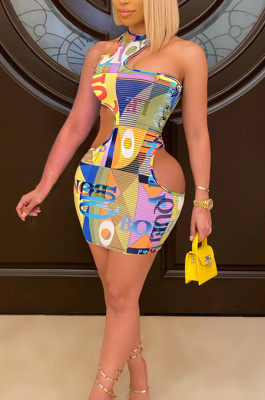 Sexy Sleeveless Irregularity Pachage Buttocks Print Dress SDE2114