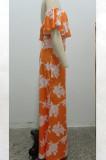Sexy Digital Printing One Word Led Boob Tube Top Long Dress SMR9901