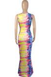 Sping Summer Fashion Tie Dye Print Dress JG041