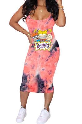 Trendy Women Tie Dye Cartoon Graphic Condole Belt Midi Dress AMN8001