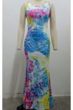 Euramerican Fashion Tie Dye Print Long Dress SMR10075