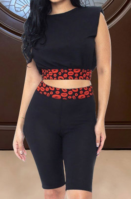 Women Casual Lips Printing Round Neck Shorts Sets ASX6015