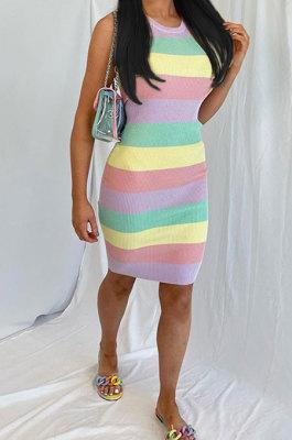 Women Printing Multi Trendy Pure And Fresh Mini Dress ASX6019