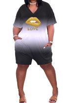 Big Size Gradual Change Lip LOVE Plus Jumpsuit GHH025