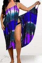Tie Dye Printing Condole Belt Backless Sexy Spliced Beach Dress MQX2335