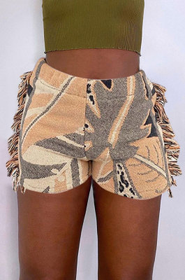 Casual Fashion Positioning Printing Colorful Pattern Tassel Shorts MLM9064