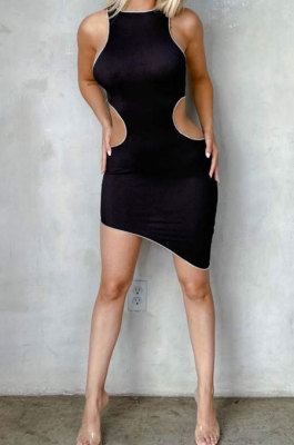 Fashion Women Hollow Out Casual Tight Package Buttocks Pure Color Mini Dress MQX2331