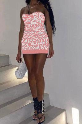 Sexy Club Fashion Printing Bandeau Bra Package Buttocks Mini Dress MQX2322