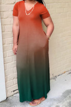 Women Gradual Change Short Sleeve Fashion Plus Long Dress WA7028