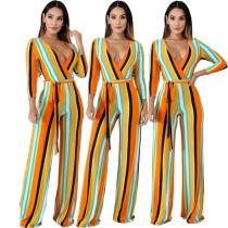 Color Stripe Wide Leg Tie Belt Jumpsuit CCY8086