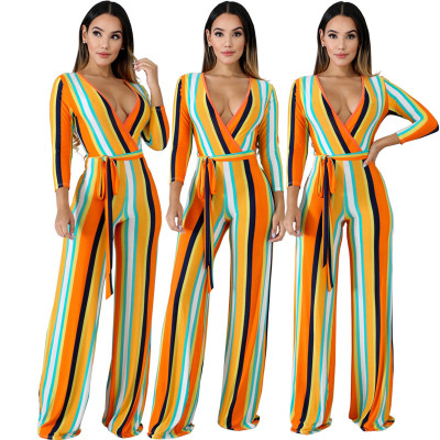 Color Stripe Wide Leg Tie Belt Jumpsuit CCY8086