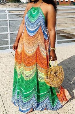Colourful Sleeveless Halter Neck Long Dress QZW136