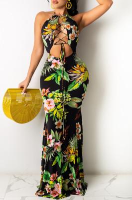 Fashion Sexy Hang A Neck Backless Print Lashing Long Dress WY6791