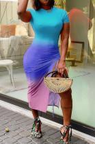 Fashion Gradient Positioning Print Lashing Opening Short Sleeve Dress WY6736