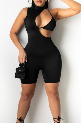 Sexy Pure Color Sleeveless Shorts Back Contain The Stealth Zipper Jumpsuit WY6795