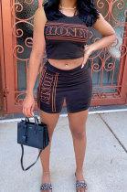 Fashion Digital Printing One Shoulder Sleeveless Tight Shorts Sets ASX6020
