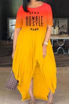 Women Fashion Printing Letter Gradual Change Open Fork Long Dress MQX2333