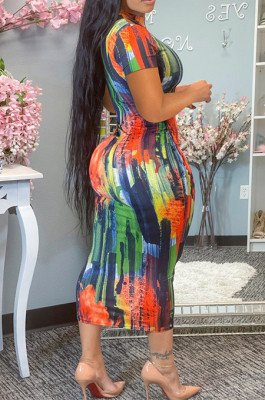 Fashion Tie Dye Print Round Neck Dress YM184
