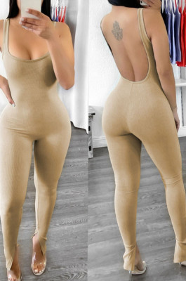 Fashion Sexy Backless U Neck Open Fork Pit Bar Jumpsuits YT3271
